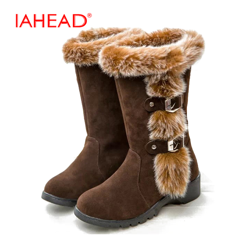 IAHEAD Winter Shes Snow Boots For Women New Plush Warm Shoes Slip On Mid Calf Flock Leather Boots bottine femme bota UPA321<br>