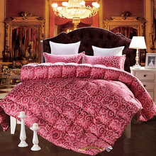 European print duck/goose down duvet comforter quilting winter blankets silk cotton red linens Single/Queen/King Size quilt(China)