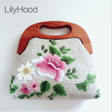 LilyHood 2017 Women Flower Embroidered Big Fabric Tote Handmade Top Handle Retro Chic Old Folk Ethnic China Stylish Book Handbag(China)