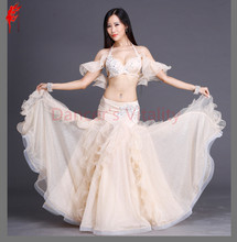 Swarovski luxury performance belly dance set top and skirt 2pcs ballroom dancer senior set 3D mesh Material belly dance suits(China)