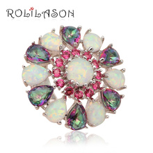 Rose Crystal & Muliticolor zirconia fashion jewelry women White fire Opal Silver Stamped Rings USA size #6 #8 #9 #10 OR595 - ROLILASON Official Store store
