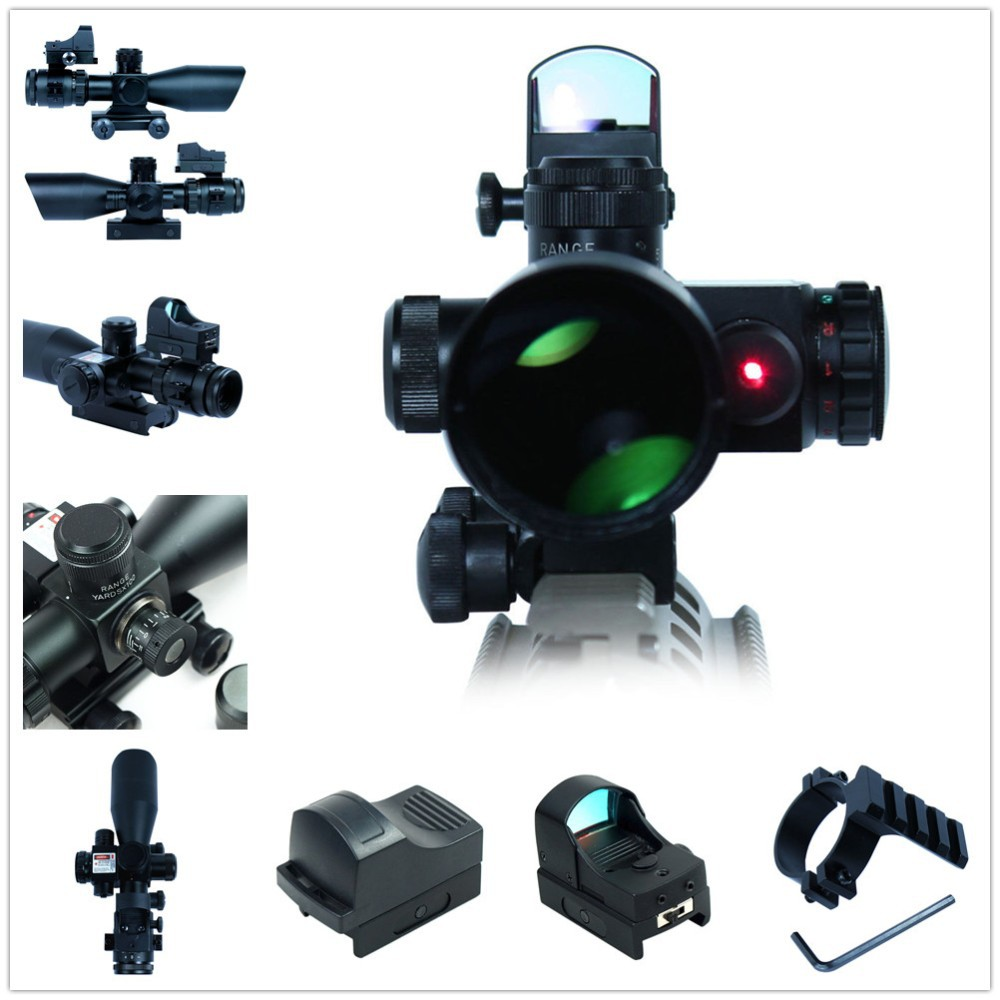 Tactical Scope 2.5-10X40  Riflescopes Tactical Rifle Scope w/ Red Laser &amp; Mini Reflex 3 MOA Red Dot Gun Weapon Sight hunting<br><br>Aliexpress