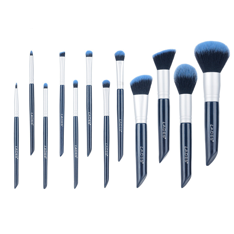 Ronwei oblique make up brush kit with Cosmetic bag plant fiber brush head extra 25% brush hair more soft &amp; pick up more powder<br>