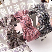 Korea High Quality Fold Plaid Cotton Knot Hair Accessories Hair Band Hair Bows Flower Crown Headbands For Women 3(China)