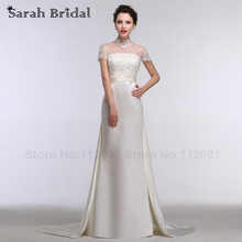 Elegant Beading White Lace High Neck Wedding Dresses Short Sleeves 2016 New Satin Train Bridal Gowns A-line Long robe de soiree