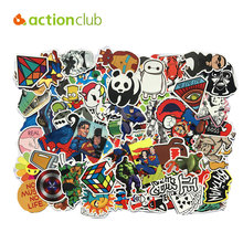 Actionclub 300pcs/set Mixed Stickers Fashion Snowboard Motorcycle DIY Stickers Fridge Laptop Luggage Waterproof Glue Stickers