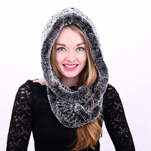 Rabbit Knitted Warm Fur Head Scarf Collar Hood Scarves Russian Scarf Women 2017 Winter Real Rex Hat With Real Fur Scarf mz029(China)