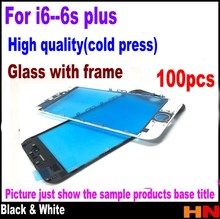 100pcs For iPhone 6 6 Plus 6s 6s plus 2 in 1 Touch Screen Lens Glass with frame assembly Repair Part white/black half cold press