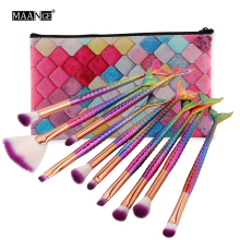 MAANGE New 10 Pcs Mermaid Makeup Brushes Tools Set OR 1 Pcs Brush Bag Case Cosmetic Eye Shadow Lip Make Up Cosmetics Brush Tools(China)