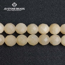 JD Stone Beads Free Shipping Natural Faceted Yellow Jade Personalized Fashion Hand-made Jewelry Ornament(China)