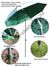 1.6m diameter beach fishing umbrella,with tilt ,lotus frame beach umbrella,military/army design,two layers,windproof