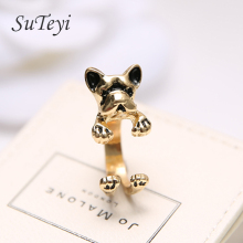 SUTEYI 2017 animal dog ring ancient gold rings designs fashion vintage animal ring resizable jewelry wholesale