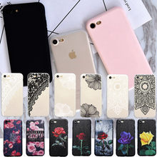 New Pure Pink Black soft case For iphone 6 6s Plus 7 8 Plus Silicon cover For iphone 5s SE X Cases Sex Lace Mandala Red Rose(China)