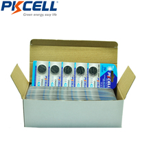 125Pcs/25cards PKCELL Button Coin Battery CR2025 3V Lithium Battery(China)