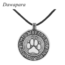 Dawapara Teen Wolf Viking Dog Pet Paw Necklaces Pendants Antique Silver Rope Chain Footprint Charms Jewelry for Women(China)