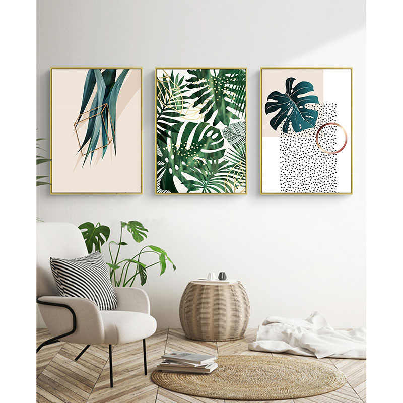 Nordic Customization Pure And Fresh Palm Frond Tropical Leaves Green Plant Canvas Painting Restaurant Background Wall Decoration
