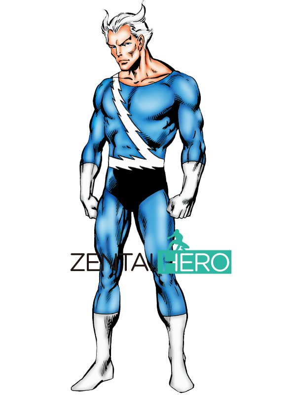 Free Shipping X-men Quicksilver Cosplay Costume Blue And White Spandex X-men Male Comic Superhero Costume Halloween Bodysuit