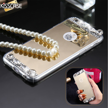 KISSCASE Luxury Diamond Mirror Cover For iPhone 7 7 Plus Bling Crystal Rhinestone Phone Case For iPhone 7 7 Plus Soft TPU Cover