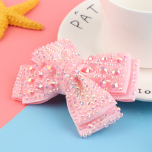 "Buy 1PC 4"" Grosgrain Ribbon Hair Bows Rhinestone Lovely Bling Hair Clips Hairpins Barrettes Girls Hair Accessories for $1.19 in AliExpress store"