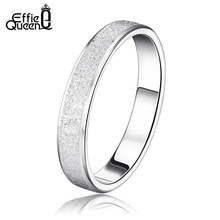 Effie Queen Hot Sale Never Fade Silver Color Wedding Ring Frosted Couple Ring For Men and Women WRS08