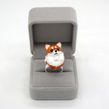 New Design Adjustable Resin Ring Cute Animal Shiba Dog Ring Handmade Art Painting Jewelry Dog Lover Gift