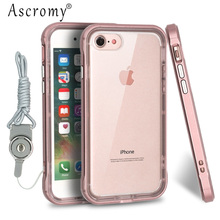 Ascromy Hybrid Hard PC Bumper Soft Silicone Shockproof Case Cover for iPhone 6 S 6S iPhone6 Neck Strap Lanyard Phone Accessories(China)