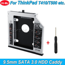 "CHIPAL Aluminum SATA 3.0 2nd HDD Caddy 9.5mm for 2.5"" SSD Case HDD Enclosure for Lenovo ThinkPad T400 T500 W500 T410 etc. CD-ROM"
