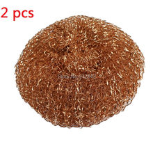 8cm soft red Copper Spiral Scourer Cleaning Ball for Machine Tool free shipping(China)