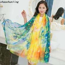 2017  Shawl Russian American Korean most popular Style Imitation Silk Pashmina Long Thin Scarf Sunscreen Colorful Ladies Scarf