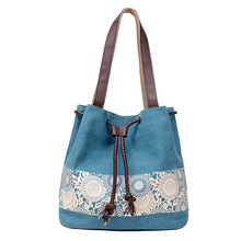 Fashion Women Canvas Shoulder Bag Flower Bags Big Capacity Drawstring Tote Casual Shopping Handbag Popular