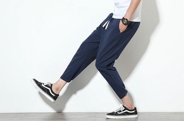 Cotton Linen Joggers Navy Men's Harem Pants 3
