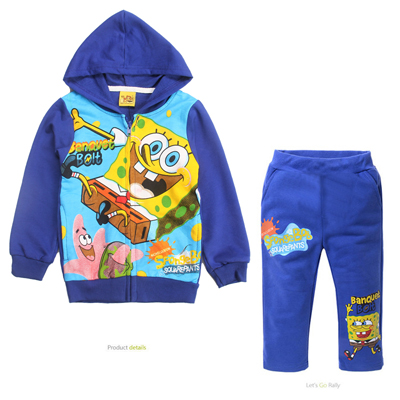 Hot Sales children tracksuits kids clothing spring/autumn Spongebob 2pc sets boy cotton printing sportswear MS0306 FREE SHIPPING<br><br>Aliexpress