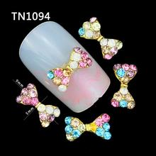 10 Pcs 3D Nail Art Decorations Gold Alloy Diy Glitter Bow With Colorful Charm Rhinestones Tools Used On Nails Polish Gel UV