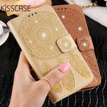 KISSCASE Flip Leather Case For Samsung Galaxy S5 Case Samsung Galaxy S7 S6 Edge Campanula Feather Printing Rhinnestone Cover