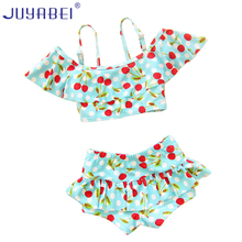 JUYABEI Children's Swimsuit Girls Cherry Bebek Bikini Sets Baby Swimwear Girls Swim Swimsuits for Children Swimming Wear