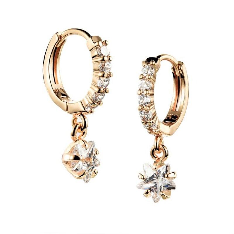 Brilliant new zircon women ear studs slightly inlaid zircon stars pendant earrings plating gold girl fashion jewelry