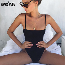 Buy Aproms Sexy Low Back Knitted Bodycon Bodysuits Shoulder Black Slim Streetwear Rompers Jumpsuits Overalls Women Clothing for $7.67 in AliExpress store
