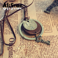 Old Fashion Vintage Pendant Necklaces Women Men Wood Key Decoration Rope Chain Necklaces Jewelry #NL038(China)