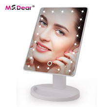 LED Touch Screen Makeup Mirror Professional Vanity Mirror With 16 LED Lights Health Beauty Adjustable Countertop 22 Led Rotating(China)