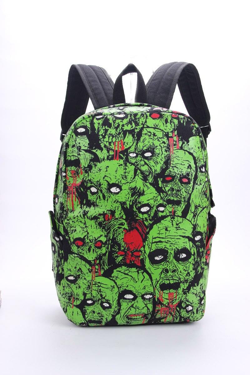 Men Women Unisex Zombie Attack Monster Backpack Rucksack Gothic Emo Punk Backpack School Bag Green Mochila Glow in the Dark<br>