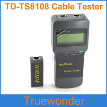 Free Shipping TD-TS8108 Digital Multifunction Network LAN Phone Cable Tester With LCD Display RJ45  and Retail Box