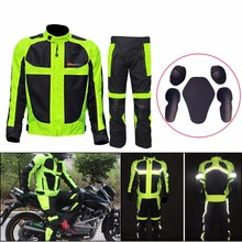 Riding Tribe Breathable Summer Motorcycle Protective Jacket + Hip Protector Pants Kits Motorcycle Racing Suits Jacket pants C/5(China)