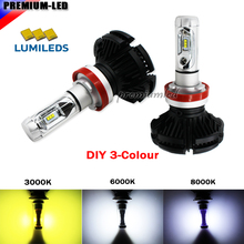 High Power LED Headlight Bulbs H4 H7 H8 H9 H11 H16 5202 9005 9006 H10 LED Powered By Luxeon LED with Removable Fan-less Heatsink