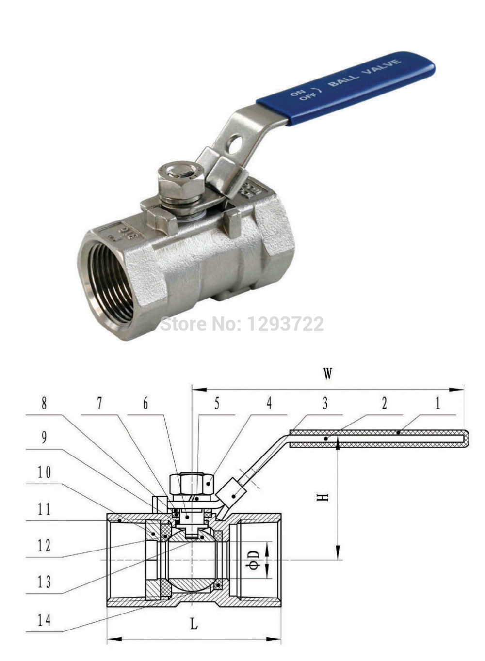 1 1/4 DN32 Stainless Steel 1- Piece Ball Valve, SS304 ,Economical Water Valve ,stainless steel ball valve,ball valve DN20<br>