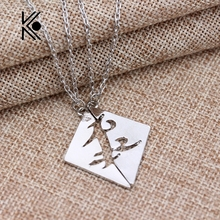 Pair Instruments City of Bones Alloy silver Runes Parabatai friendship couples pendant for men and women Couples Necklace