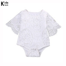 RP-135 Cute Baby Girls White Lace Briefs Sleeve Sliders Baby Lace Overalls Clothes Women Beach Suit Outfits(China)