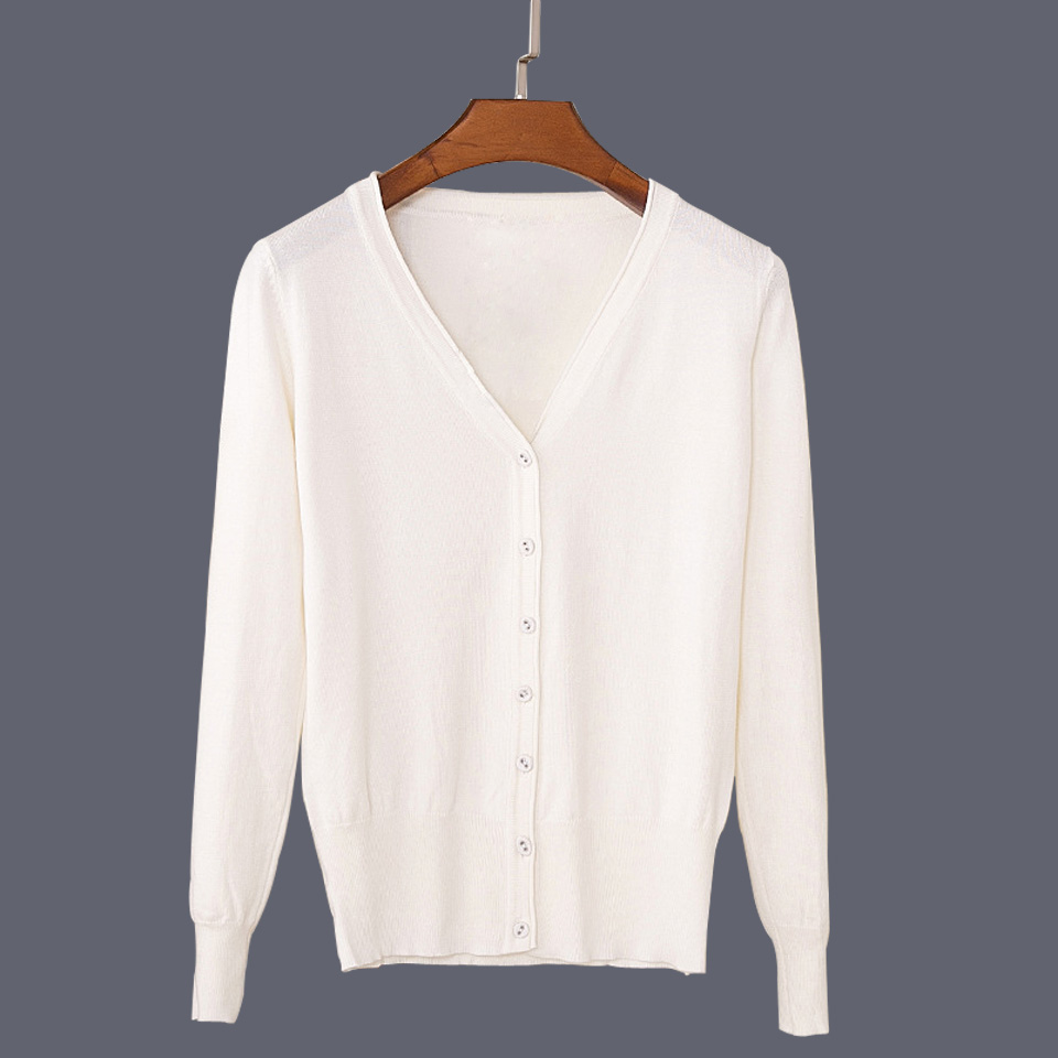 17 New Top Selling Spring Woman Sweater Tops Fashion Knitted Long Sleeve V-Neck Solid Loose Size Casual Woman Cardigan Sweater 29