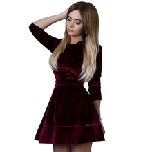 Women Retro Korean Velvet Dress 2017 Autumn And Winter Casual Three Quarter Sleeve Pink Color Bottom Dresses Hot Sale(China)