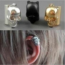 Punk Style Golden Silver & Black Metallic Skull Ear Cuff Clip Earrings for Women Piecing Jewelry Ear Wrap for Girls