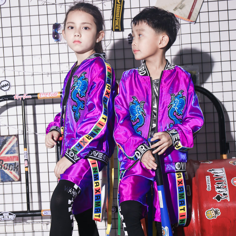 2018 New Fashion Boys Jazz Dance Hip Hop Costume Girl Catwalk Dance Clothing Tide DS Performance Coats+Top+Pant DQY10678